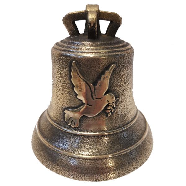 Cloche en bronze avec décoration colombe