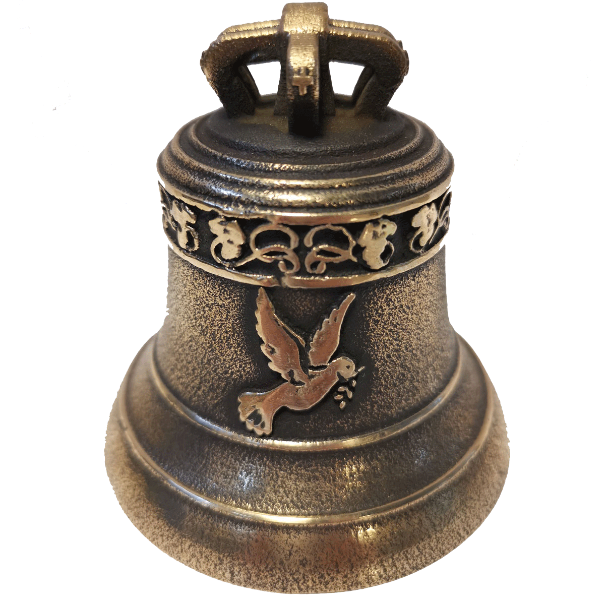 Cloche en bronze avec frise trèfle et colombe