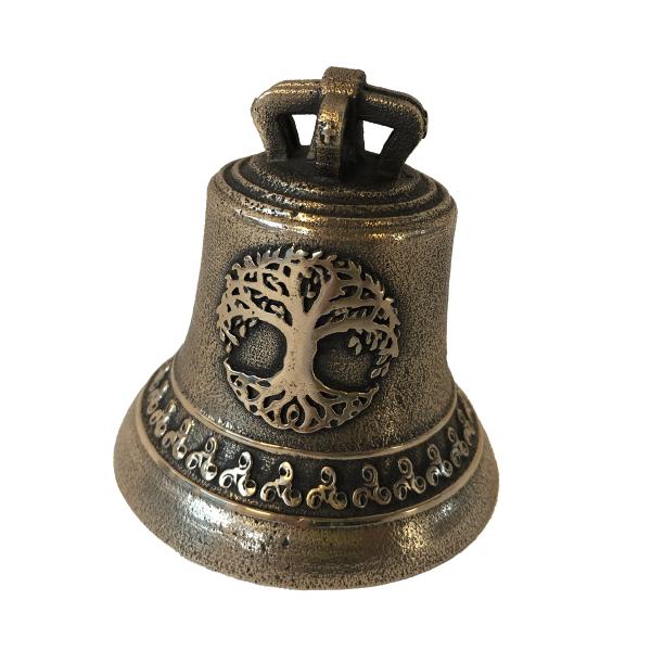 Cloche en Bronze avec Arbre de Vie et Frise Triskel