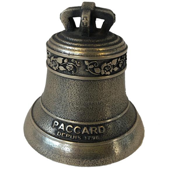 Cloche miniature en Bronze, finition Bronze Ancien, avec frise Roses et signature PACCARD