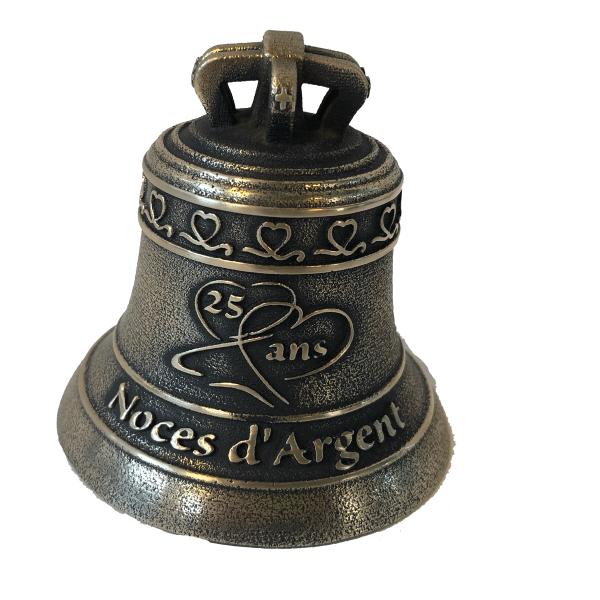 Cloche miniature en bronze, finition bronze ancien, décoration Noces d'Argent