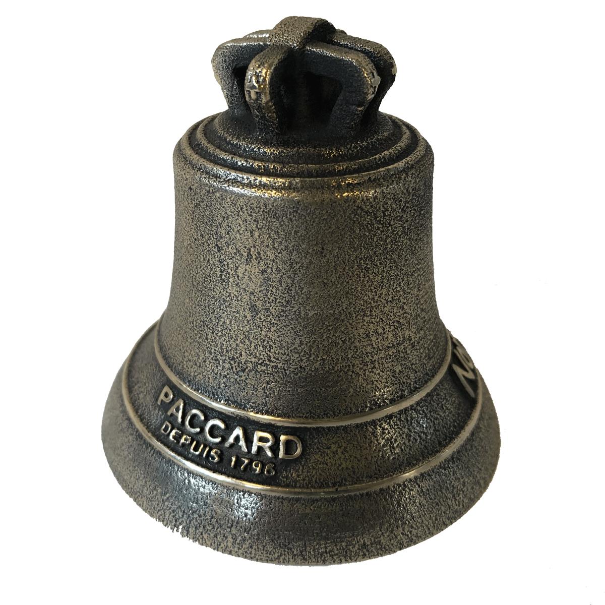Cloche miniature en bronze, finition bronze ancien, décoration Nord Pas De Calais avec signature PACCARD