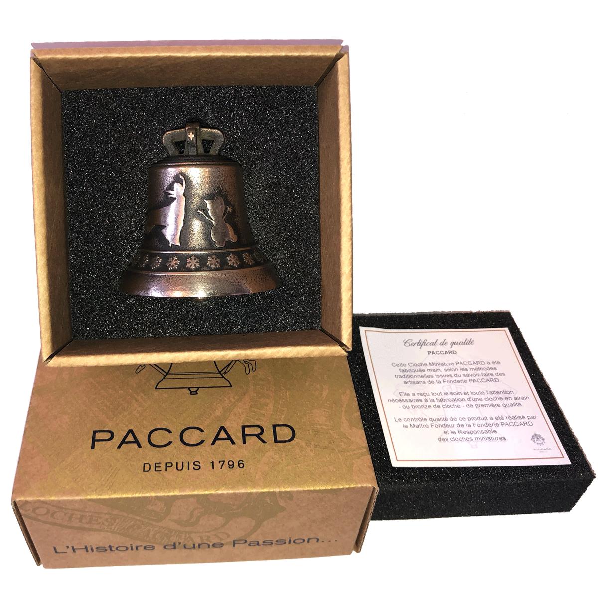 Cloche miniature en bronze, finition bronze ancien, décoration Reine des Neiges et Frise Flocons